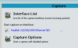 המסך הראשון של Wireshark