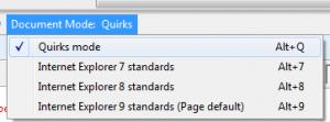 כלי הדפדפנים של אקספלורר מרנדר את הדף כ Quirks mode