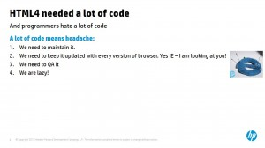 HTML 4 מצריך המון קוד