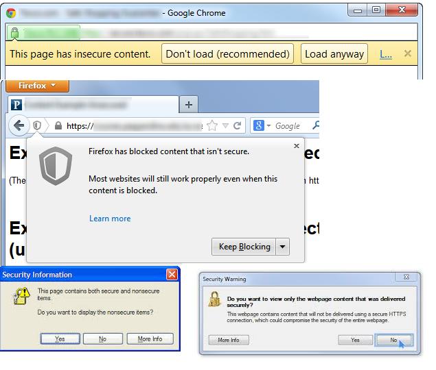 אזהרות שונות בדפדפנים שונים על תוכן לא מאובטח