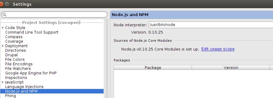 PHPStorm Global Node.js Configuration Menu