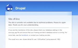 הודעה על כך שמסד הנתונים של דרופל לא זמין
