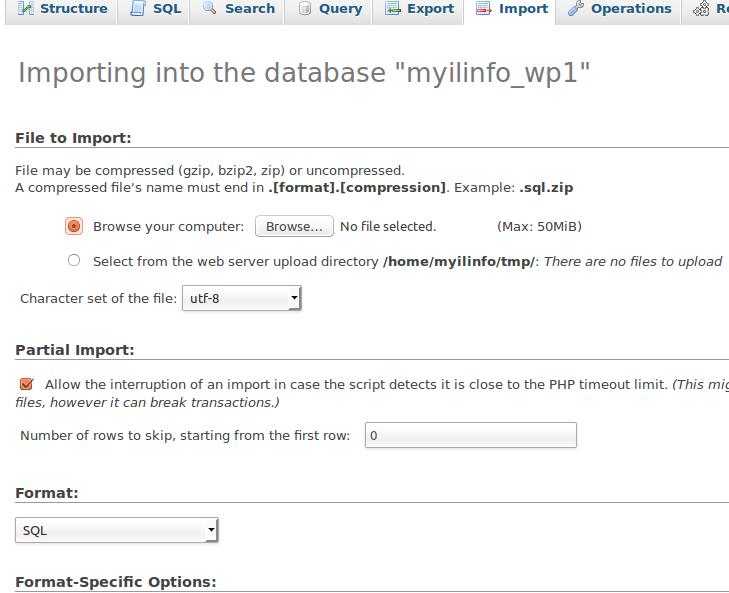 ייבוא מסד נתונים עם PHPMyAdmin
