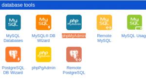 אייקון של PHPMyAdmin בתוך ממשק של שרת
