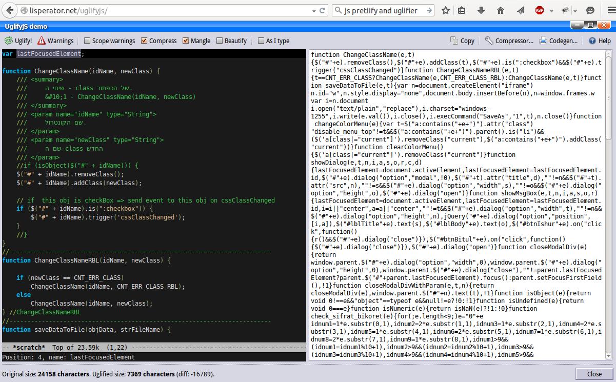צילום מסך מתוך ממשק וובי של uglify. משמאל - הקוד המקורי, מימין, הקוד לאחר שעבר טיהור. ההבדל  - 16 KB