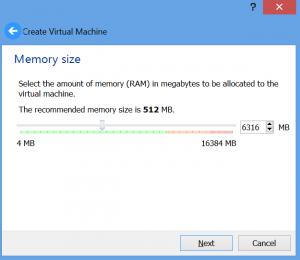 התקנת מכונה וירטואלית - התקנת מכונה - הקצאת RAM