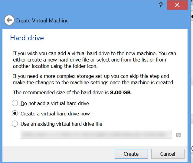 התקנת מכונה וירטואלית - התקנת מכונה - בחירה אם להתקין דיסק קשיח