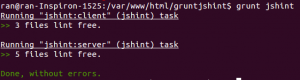 "$ grunt jshint Running ""jshint:client"" (jshint) task >> 3 files lint free. Running ""jshint:server"" (jshint) task >> 5 files lint free. Done, without errors."