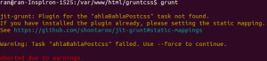 "$ grunt jit-grunt: Plugin for the ""ahlaBahlaPostcss"" task not found. If you have installed the plugin already, please setting the static mapping. See https://github.com/shootaroo/jit-grunt#static-mappings Warning: Task ""ahlaBahlaPostcss"" failed. Use --force to continue. Aborted due to warnings."