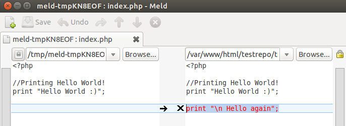 דוגמה של הממשק הגרפי של תוכנת meld