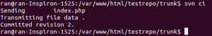 $ svn ci Sending index.php Transmitting file data . Committed revision 2.