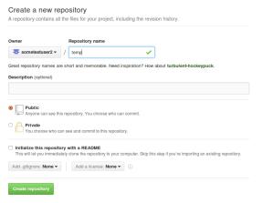 בחירת שם ל-repository החדש