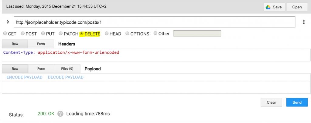 שליחת בקשת DELETE ל-URL. ניתן לראות שאפשר לבחור במתודות אחרות