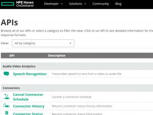 Haven OnDemand API List