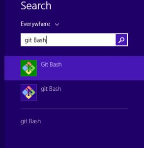 הדגמה של חיפוש git bash בחלונות 8. התוכנה הזו מותקנת אוטומטית בכל חלונות בהתקנת git