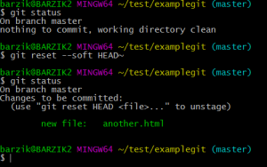 "$ git status On branch master nothing to commit, working directory clean barzik@BARZIK2 MINGW64 ~/test/examplegit (master) $ git reset --soft HEAD~ barzik@BARZIK2 MINGW64 ~/test/examplegit (master) $ git status On branch master Changes to be committed: (use ""git reset HEAD ..."" to unstage) new file: another.html"