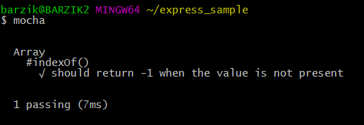 $ mocha     Array     #indexOf()       √ should return -1 when the value is not present     1 passing (7ms)