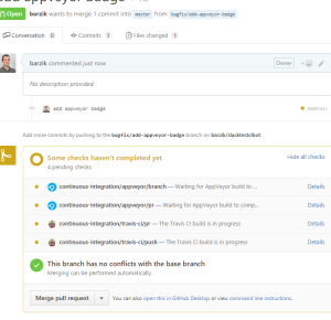 pull request with appveyor and travis