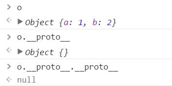 o Object {a: 1, b: 2} o.__proto__ Object {} o.__proto__.__proto__ null