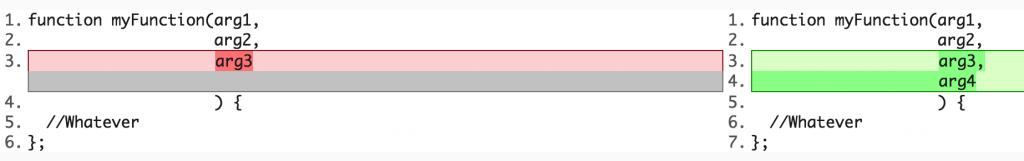 תצוגת הבדלים סטנדרטים בין הקוד הישן לקוד החדש. נראה הבדל של שתי שורות ולא של שורה אחת