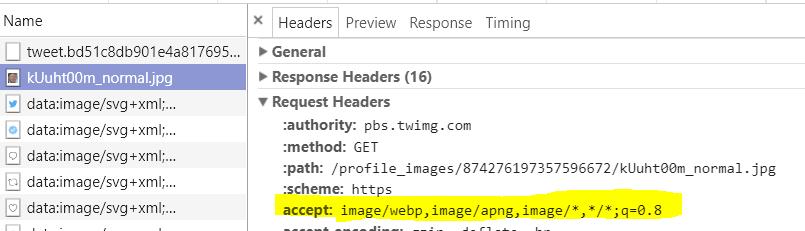 כלי המפתחים - Headers accept