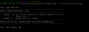 הרצה מוצלחת של PHPCS דרך דוקר על קבצים מקומיים