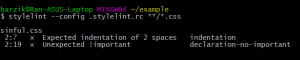 Expected indentation of 2 spaces