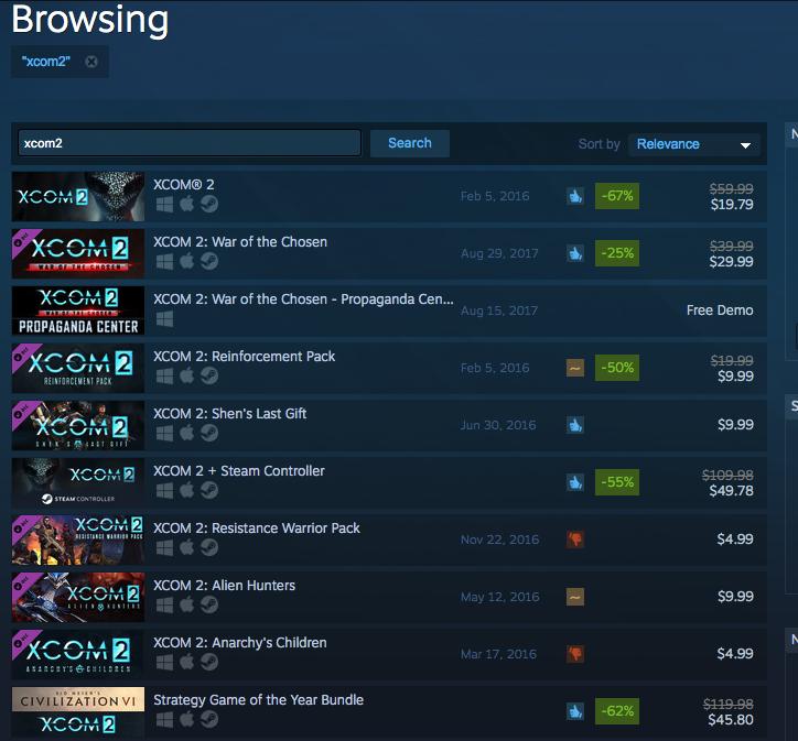 מחירי משחק xcom2 בדולרים כפי שהם מוצגים ללקוח אמריקאי