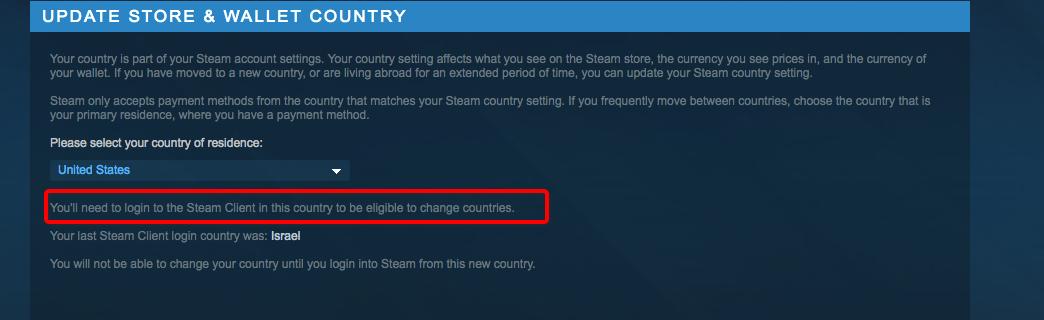 סטים לא מאפשרת לי לשנות את סוג המדינה, גם כשאני מחובר מארצות הברית