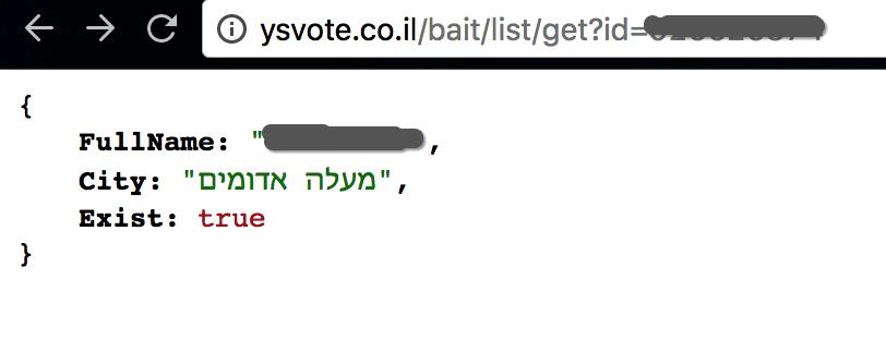 משלוח של בקשה מוצלחת אל ה-API
