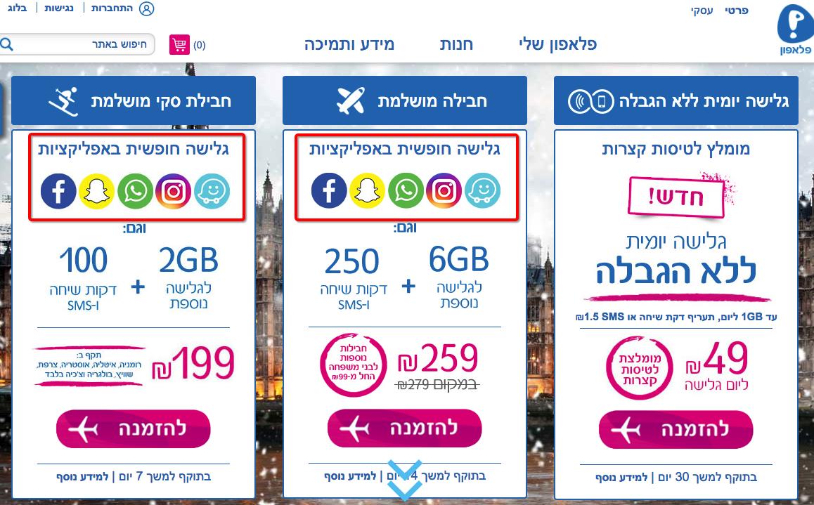 הםרת נייטרליות רשת בחבילות חו״ל של פלאפון