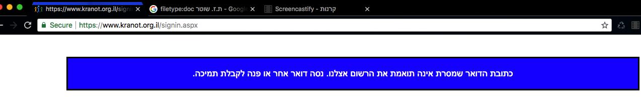 כתובת המייל אינה תקינה, אך המשתמש קיים במאגר