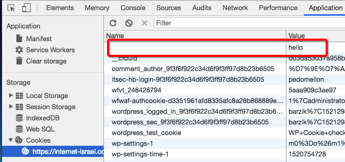 כלי המפתחים -> application -> עוגיות