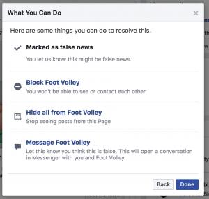 דיאלוג פייסבוק: סמן כחדשה מזויפת