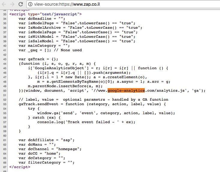 קוד באתר דפי זהב שאוסף נתונים ומשדר אותם לגוגל אנליטיקס