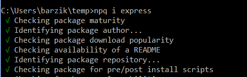 npq i express  √ Checking package maturity  √ Identifying package author...  √ Checking package download popularity  √ Checking availability of a README  √ Identifying package repository...  √ Checking package for pre/post install scripts