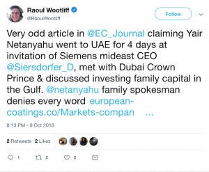 Very odd article in @EC_Journal claiming Yair Netanyahu went to UAE for 4 days at invitation of Siemens mideast CEO @Siersdorfer_D, met with Dubai Crown Prince & discussed investing family capital in the Gulf. @netanyahu family spokesman denies every word