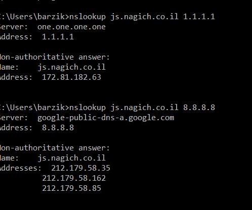 "nslookup js.nagich.co.il 8.8.8.8 Server:  google-public-dns-a.google.com Address:  8.8.8.8  Non-authoritative answer: Name:    js.nagich.co.il Addresses:  212.179.58.35           212.179.58.85           212.179.58.162   C:\Users\barzik/>nslookup js.nagich.co.il Server:  Box.Home Address:  192.168.14.1  Non-authoritative answer: Name:    js.nagich.co.il Addresses:  212.179.58.85           212.179.58.162           212.179.58.35″ class=""wp-image-8504″/><figcaption>בדיקת nslookup שמראה כתובת IP שונה לשאילתת DNS</figcaption></figure>    <p>מדובר בפירצה שנקראת DNS Poisoning. זו פירצה שבמסגרתה שרתי DNS נפרצים. למי שלא יודע, DNS הוא תשתית הרשת שבמסגרתה שמות מתחם מומרים לכתובות IP.</p>    <figure class="