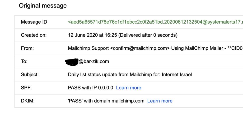 הדרים של מייל שתומך ב-DMARC כפי שמוצגים על ידי תוכנת גוגל.